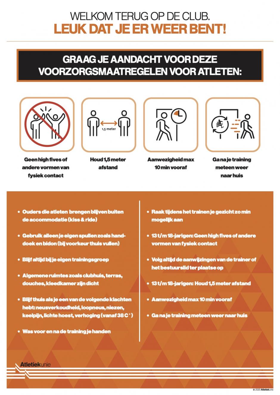 Voorzorgsmaatregelen voor atletiek AV Suomi